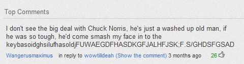 "Chuck Norris. Smashing faces into keybdnjidddvnjhgfklofdassfkloigrdcbjhgfbhgfcgg even in ""old age"" lol"