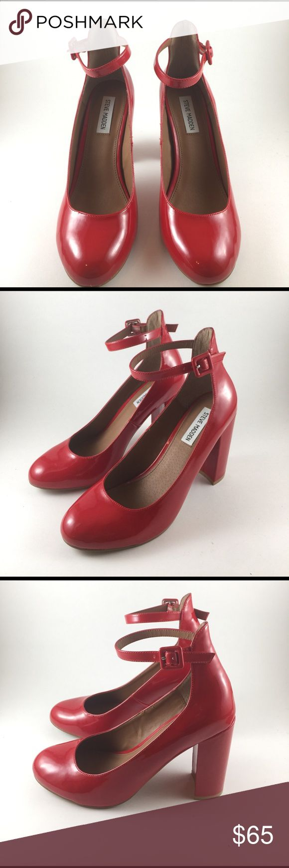 Steve Madden Red Patent chunky high heel New Steve Madden Red Patent chunky high heel (used only as display). Steve Madden Shoes Heels