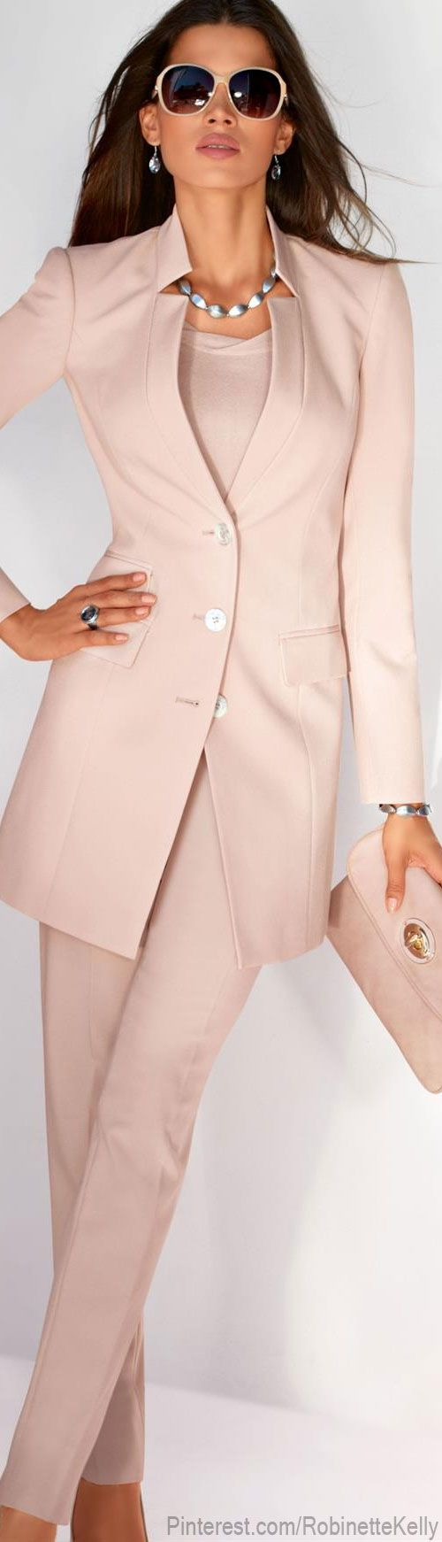 "Madeleine - It seems like Pants Suits with Longer Jackets are back ""in style"" Great colour for Spring..."