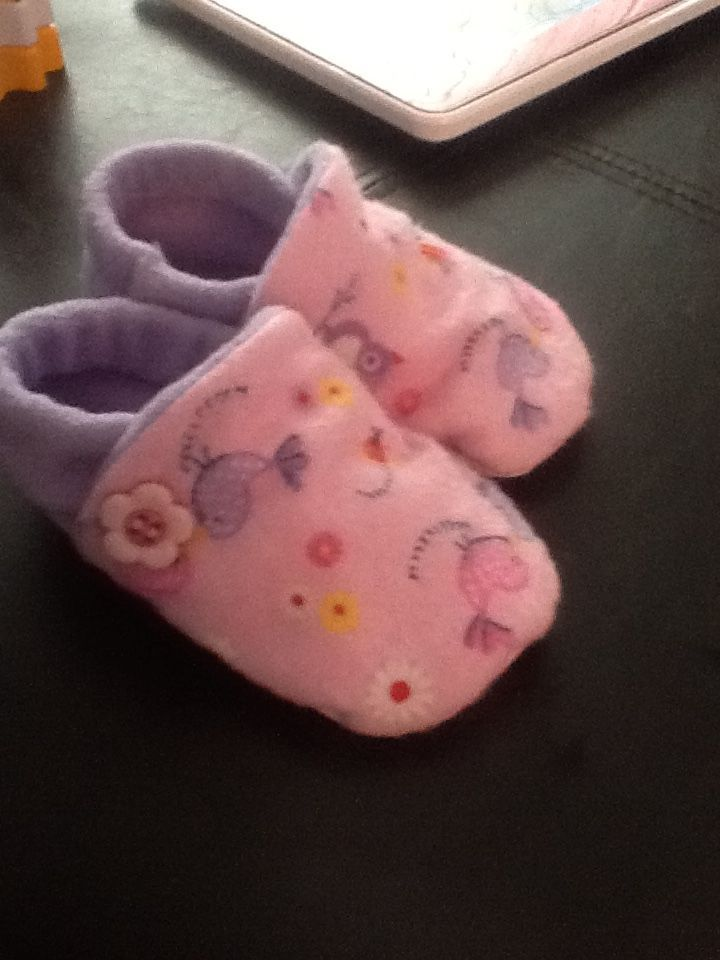 Easy DIY baby/toddler slippers. I made quite a few pair. How many does one toddler need? I have not decided.