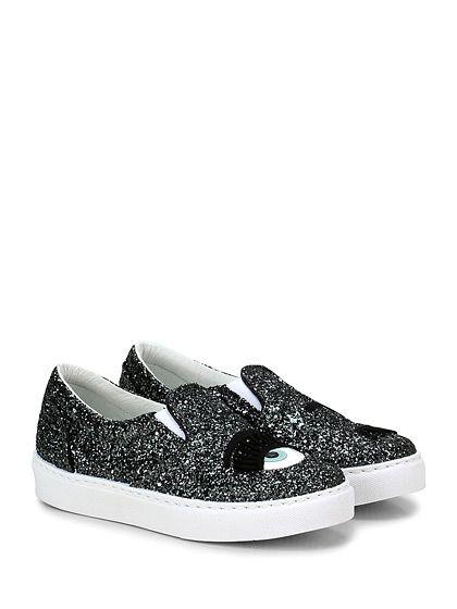Chiara Ferragni - Sneakers - Donna - Sneaker in glitter con applicazioni frontali e inserti elastici su linguetta. Suola in gomma, tacco 25. - ANTRACITE