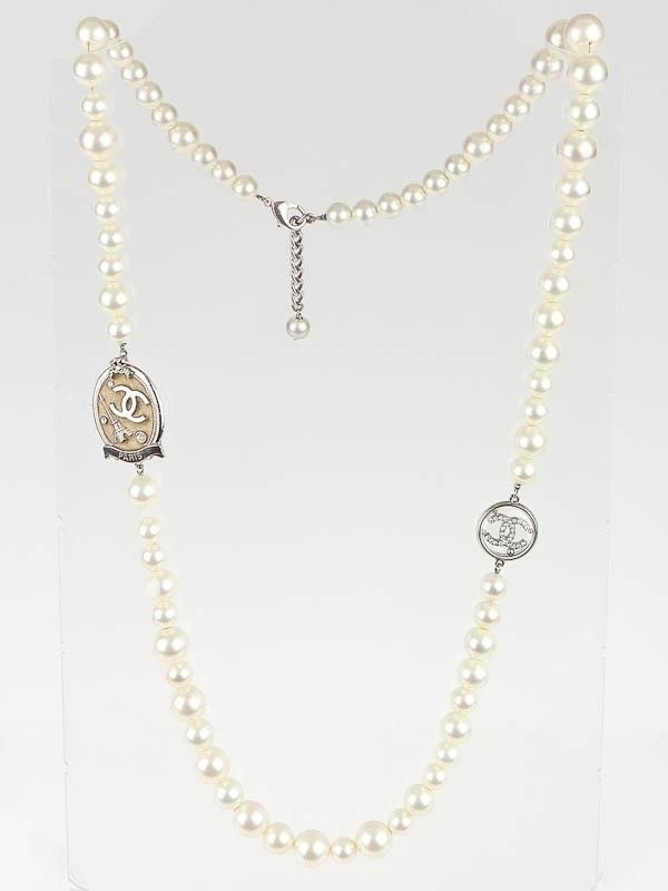 Chanel Faux Pearl Crystal CC Long Necklace