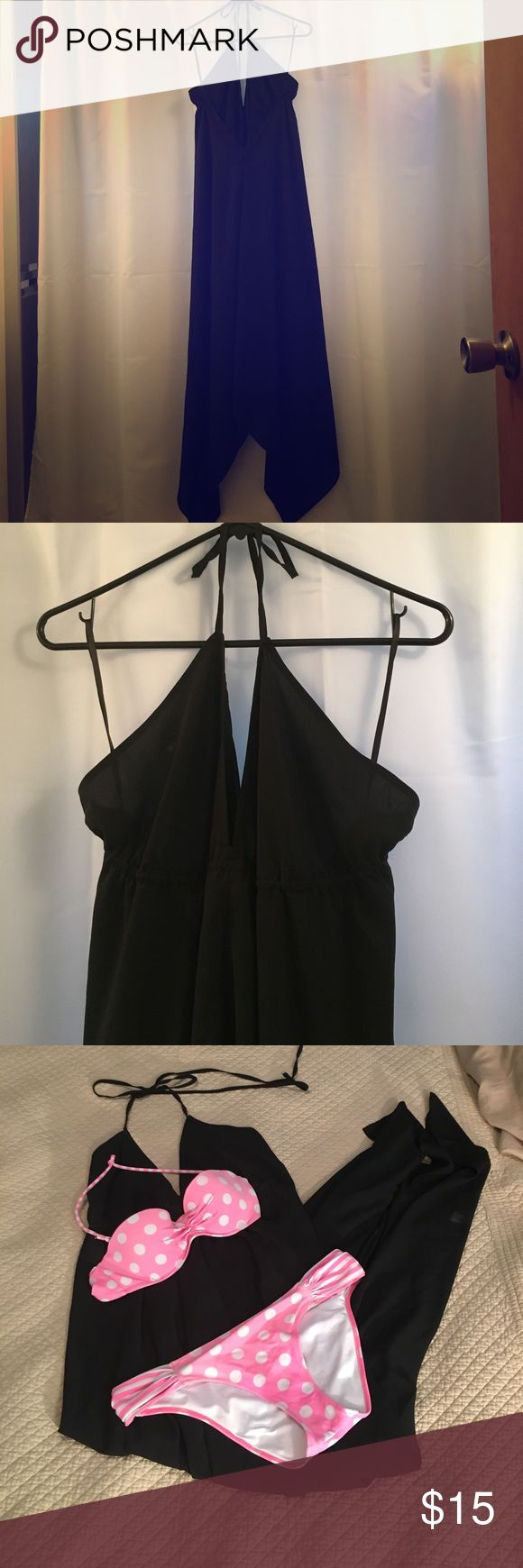 Black,Asymmetrical, Dress This Dress is the perfect summer slip on. Looks so good on. It features a deep v-neck with a halter style tie. It has a v shaped open back, it's lightweight and comfortable. Perfect for throwing on over a swimsuit. In great condition. Old Navy Dresses Maxi