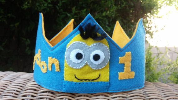 Minion Themed Felt Birthday Crown by HedsThreads on Etsy
