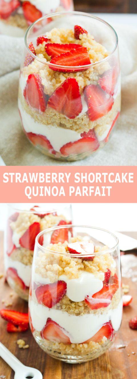 Strawberry Shortcake Quinoa Parfait -- a protein-packed breakfast or dessert