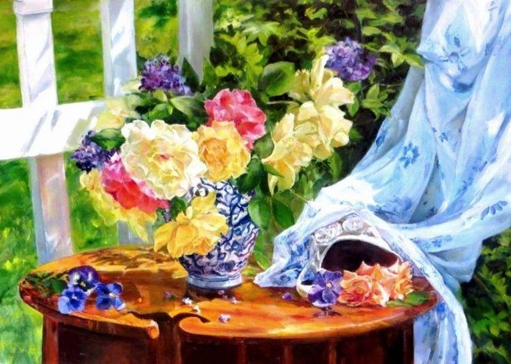 """""""Натюрморт с садовыми розами"""". Автор: Сенько-Дмитриева Марина"""