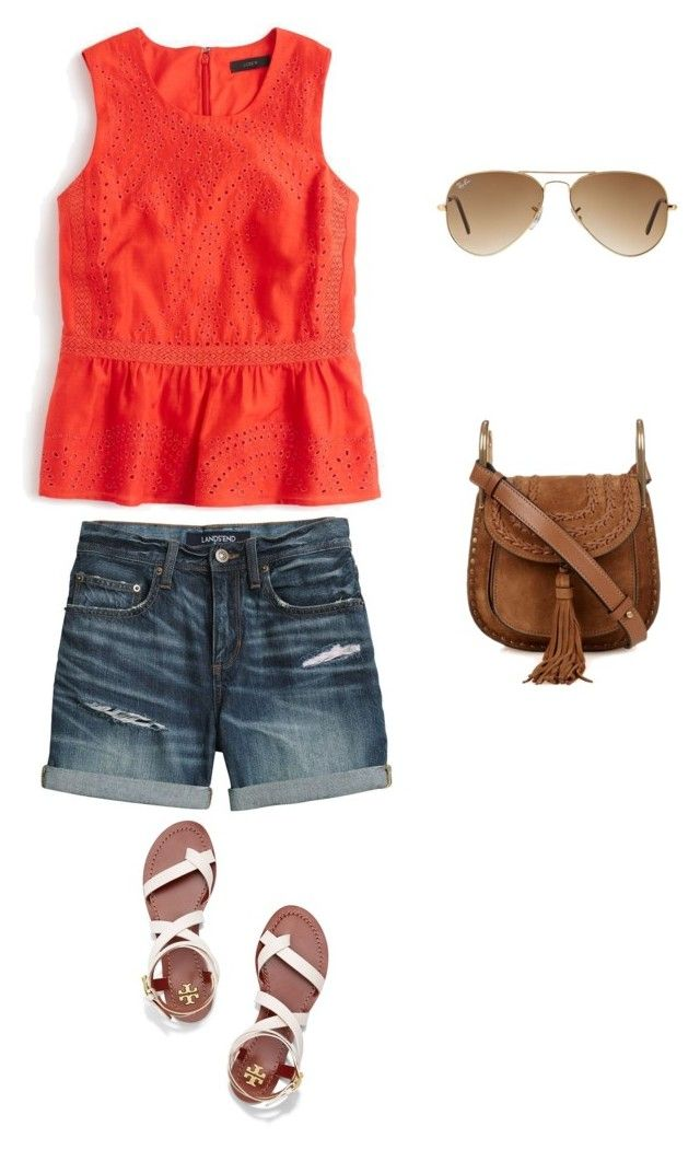 """Untitled #5"" by lhh-ph on Polyvore featuring Tory Burch, Chloé, Ray-Ban, J.Crew and Canvas by Lands' End"
