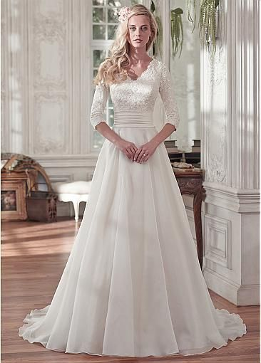 Elegant Tulle & Organza Satin V-neck Neckline A-line Wedding Dresses With…