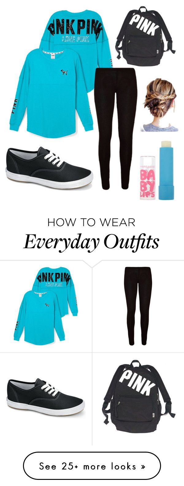 """Everyday Outfit!!!☺"" by emi-elephant on Polyvore featuring Victoria's Secret PINK, Keds, Victoria's Secret and Maybelline"