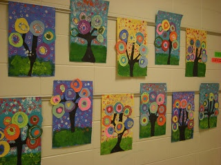 The 1st Grade students studied Wassily Kandinsky and abstract art. They each were able to make a cicle for the large collaboration tree and then they each created their own little tree!