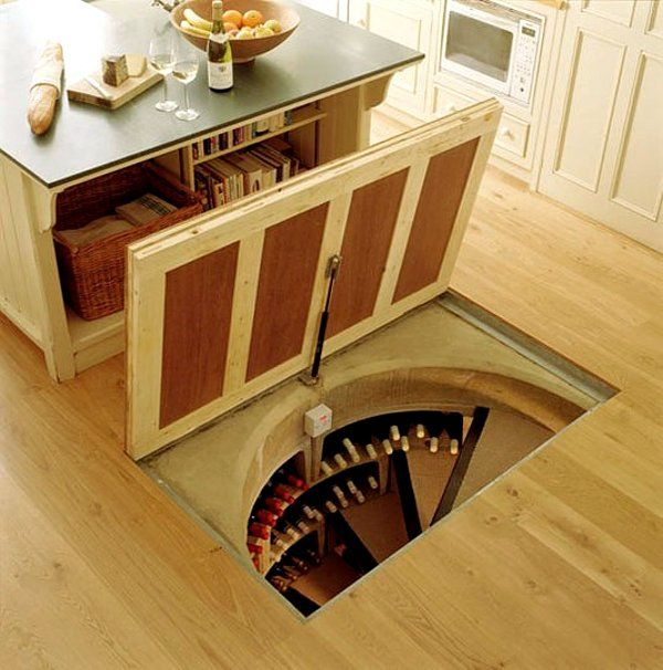 Soooo getting a trap door with a wine cellar.: Wine Cellar, Ideas, Secret Room, Dream House, Hidden Wine, Kitchen, Secret Wine, Winecellar