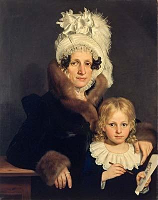 Antonin Machek, Portrait Josefa Doubkova und Sohn Eduard, 1817: