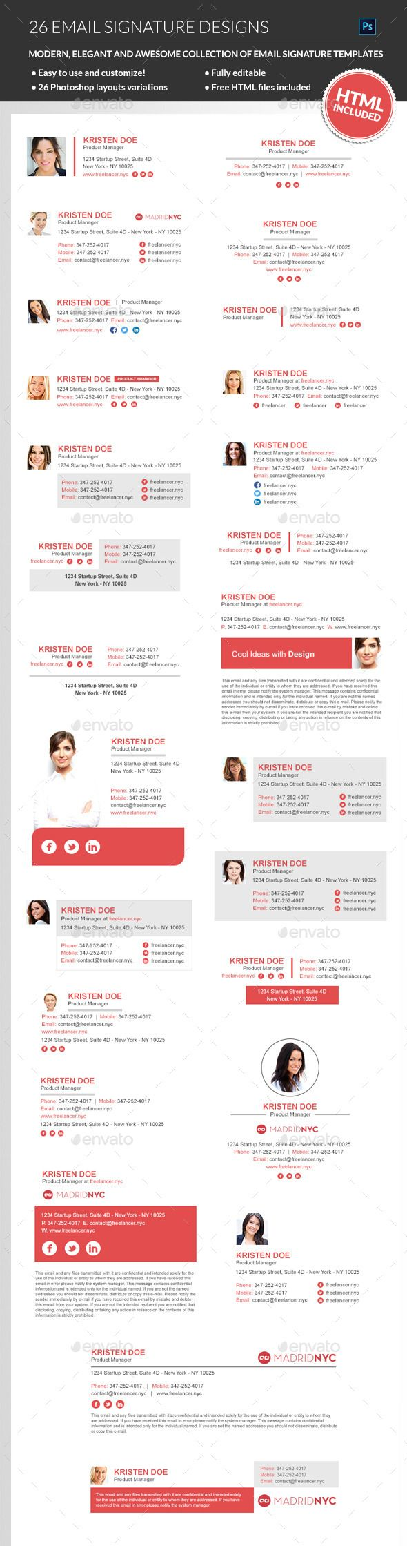 A sharp, creative and professional bundle of email signature templates for any kind of business, that will suit perfect for your company email signature. Listed among the most elegant & clean looking email-signatures templates