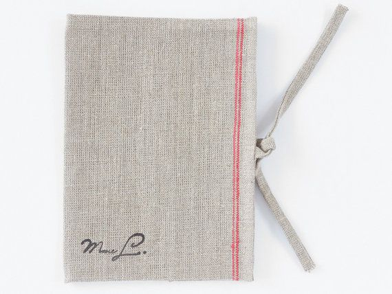 Vintage notebook linen cover made of 100% linen. by MadameLampiere