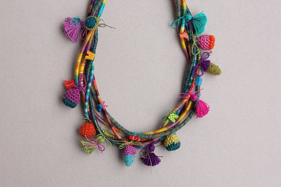 Colorful multi strand statement necklace, fiber jewelry, hand wrapped with crochet, felt and wooden beads, OOAK