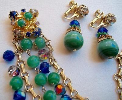 VENDOME-Vintage-Braceet-Earrings-Jade-Green-amp-Sapphire-Blue-Rhinestones-amp-Beads