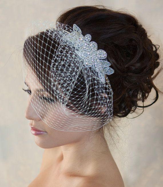 Wedding Birdcage Veil with Crystal rhinestone by WearableArtz