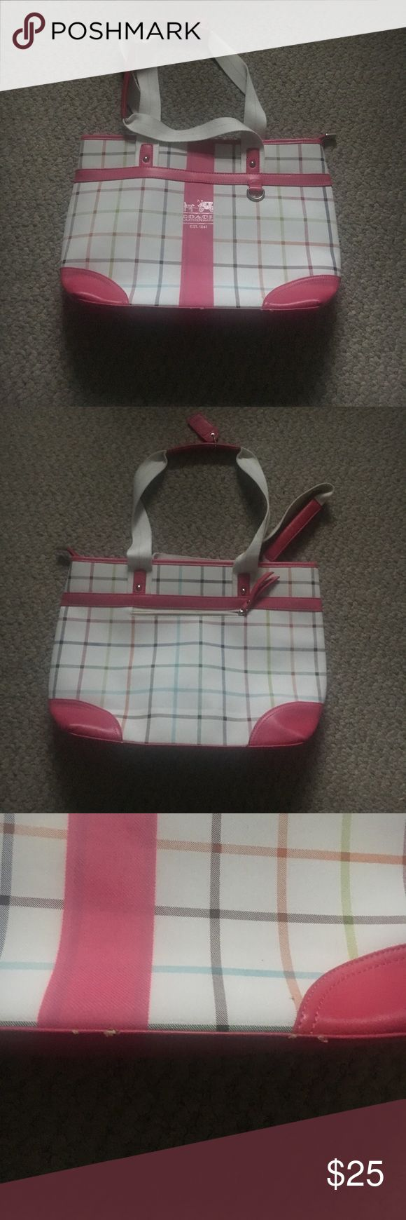 Coach pocketbook This is a coach handbag. Great for summer. Slightly worn as shown. Coach Bags