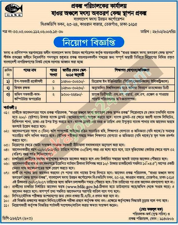 Fisheries Department Bangladesh Job Circular