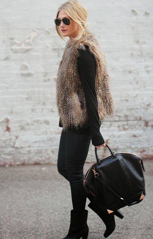 loop total preto +colete falsa pele + carteira oversized