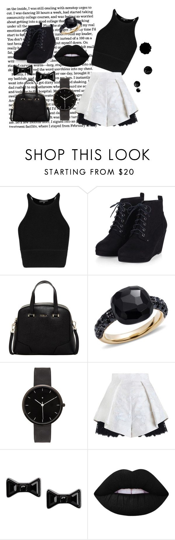 """""""BLACK&WHITE"""" by mrsandmummy on Polyvore featuring Furla, Pomellato, I Love Ugly, Marc by Marc Jacobs, Lime Crime, women's clothing, women, female, woman and misses"""