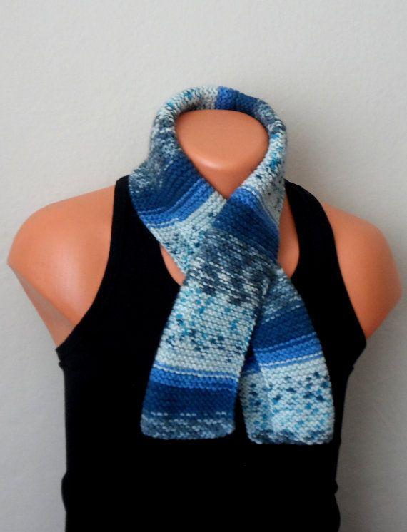 blue gray men knit scarf winter scarf chunky men scarf men