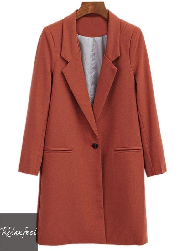 Relaxfeel Women's Lapel Long Sleeve Long Coat - New In