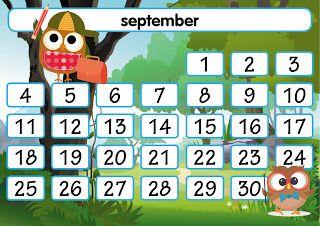 De juf deelt...: Klasmateriaal: maandkalender uiltjes
