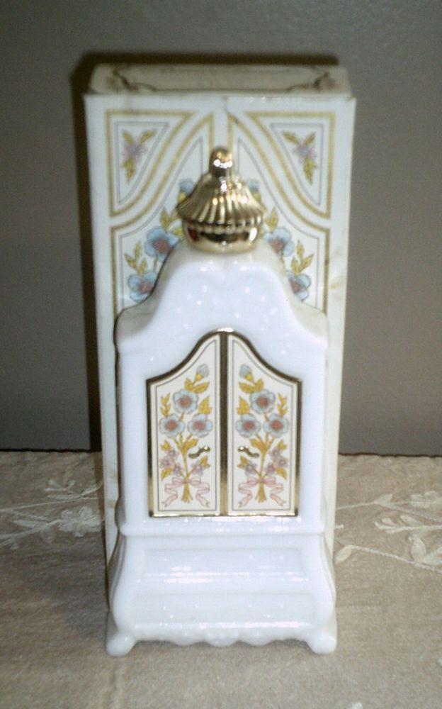 Delightful Vintage Avon Milk Glass Armoire   Elusive Bath Oil   In Box