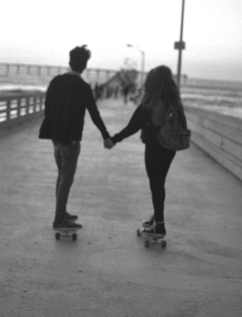 Teenage couple, young love,  skateboard
