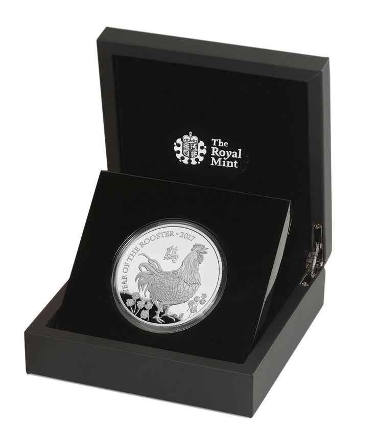 Rok kohouta - 5 uncová stříbrná medaile z dílny Britské královské mincovny