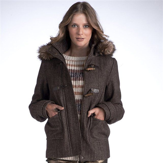 Short montgomery from @La Redoute with detachable hood with eco fur. (I have the black version, cozy and warm)