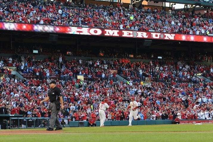 Matt Holliday scores on a solo home run against the Colorado Rockies... first inning. Cards won 5-4. 9-13-14