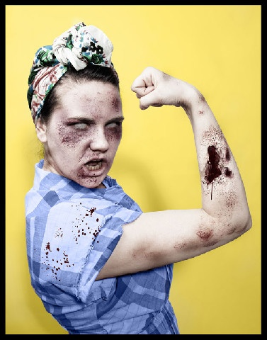 zombie Rosie the Riveter  (Elizabeth Raper) Shot and edited this photo, she is an aspiring photographer at Brooks Institute of Photography. Her website is: www.bethraper.com