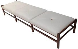 Long Brazilian Jacaranda Bench  MidCentury Modern, Upholstery  Fabric, Wood, Bench by Adesso Eclectic Imports