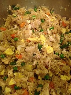 """""""Quinoa Chicken Fried Rice"""" Easy peasy and for those not used to quinoa, you can't even tell a difference, great recipe if you're just starting with it. I did this veg-ish style, just with egg and veggies, no meat. I get nervous about seasoning asian food, even something as simple as fried rice, but soy, teriyaki, garlic and ginger made for an easy winner. Another boyfriend approved healthy dish!"""