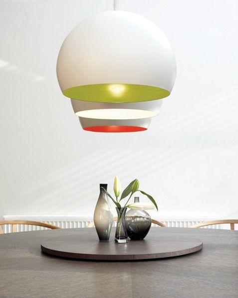 Beacon Lighting - Inside modern 3/4 dome pendant in white and white interior