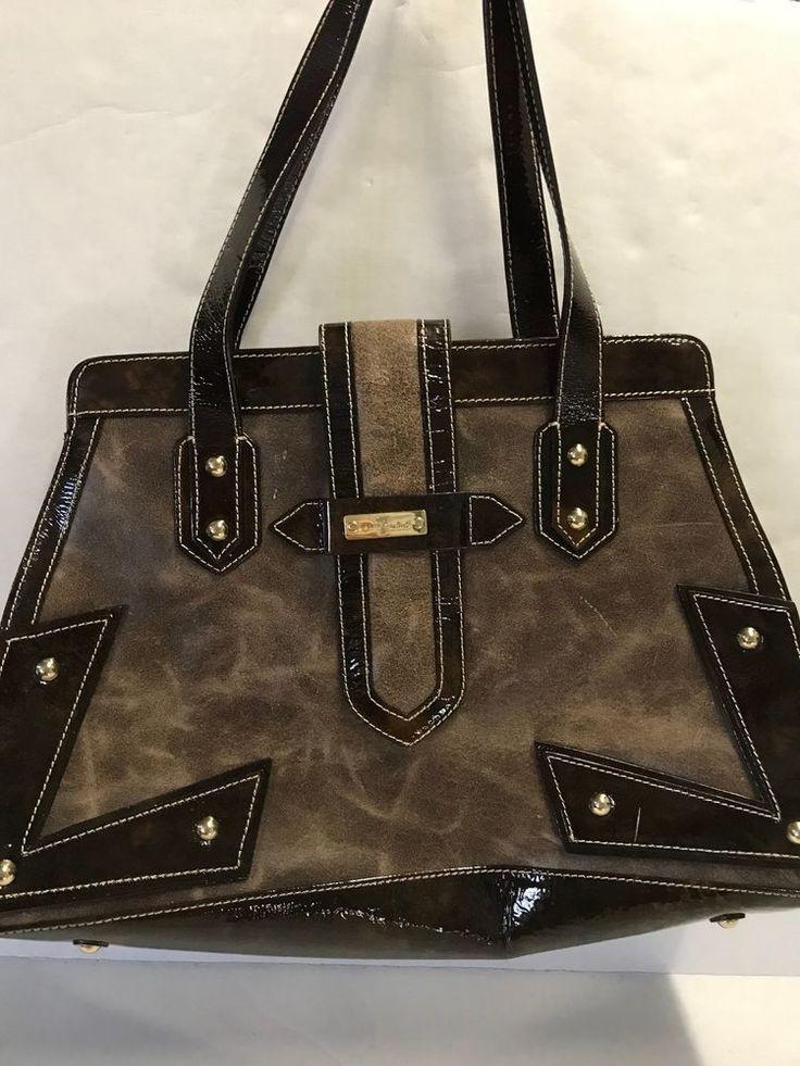 7 For All Mankind Brown Distressed Patent Satchel Handbag #7forallmankind #Satchel