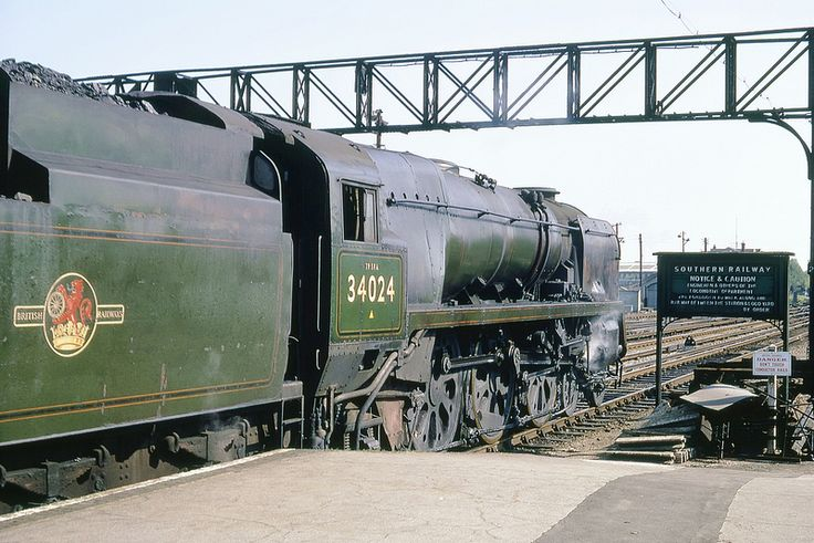 Bulleid Class WC Light Pacific 34024 (Tamar Valley) light engine at Eastleigh. 5th June 1967 (Bill Wright)