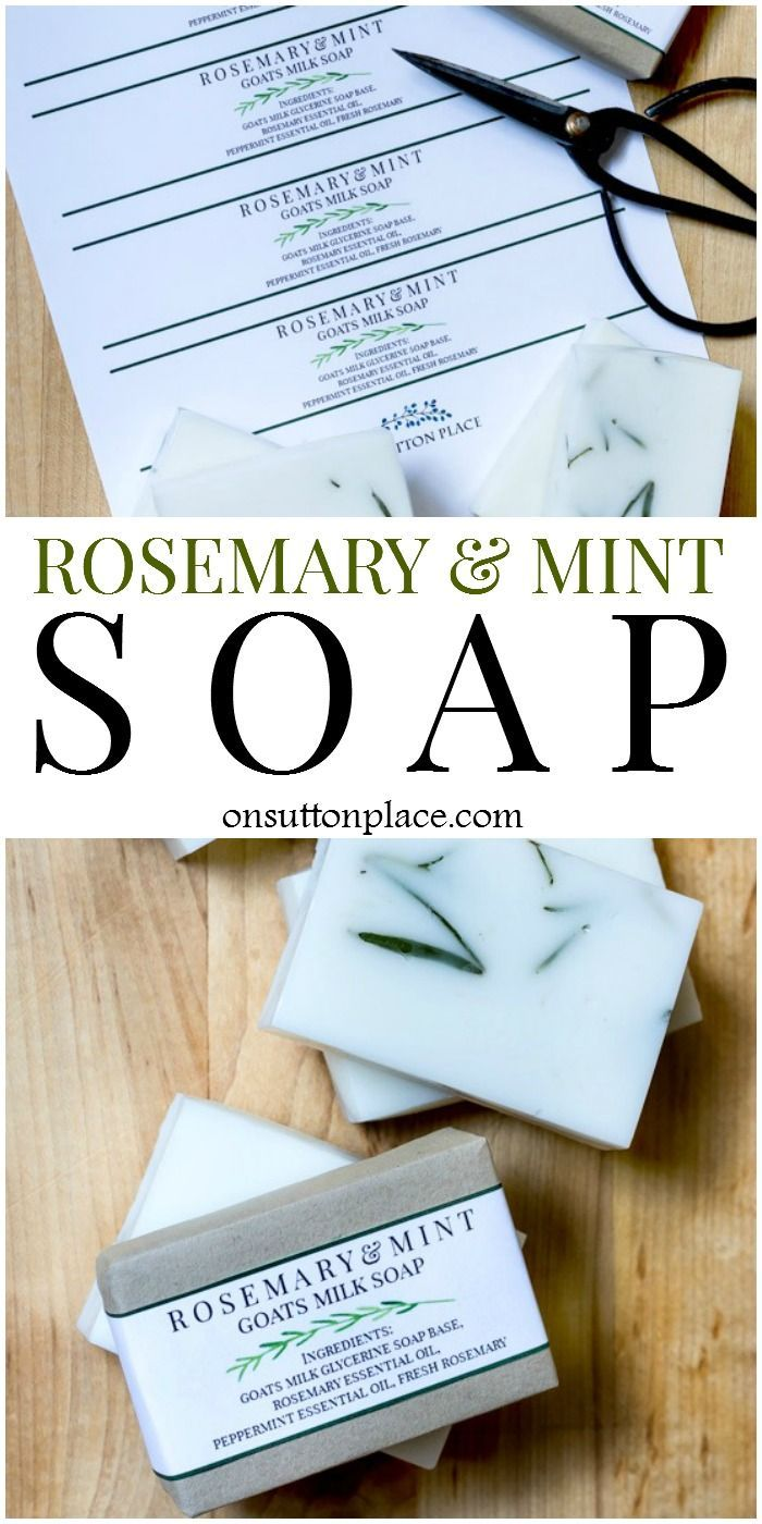 DIY Rosemary Mint Soap Recipe. Melt and pour version is easy and fast! Beautiful gift idea for family & friends. Uses goats milk & glycerine soap base.