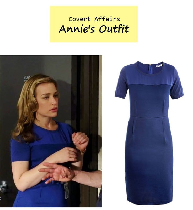 "On the blog: Annie Walker's (Piper Perabo) blue sheath dress | Covert Affairs - ""Dig for Fire"" (Ep. 402) #tvfashion #tvstyle #fashion #outfits"