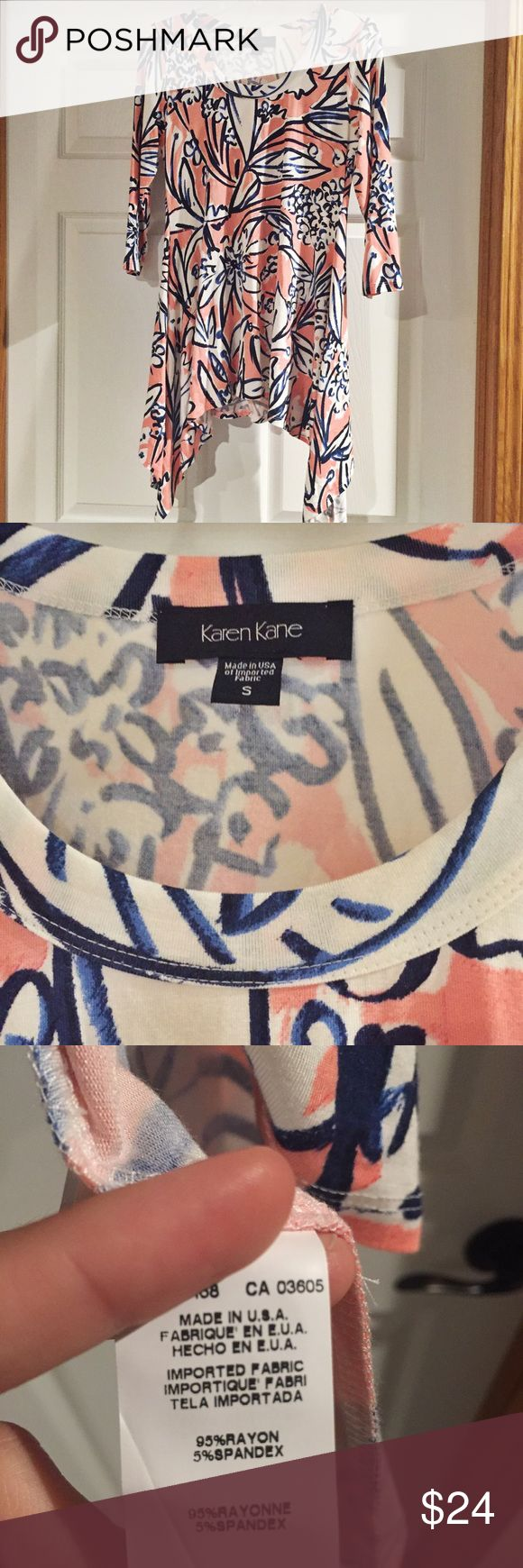 Karen Kane handkerchief swing comfy top Karen Kane handkerchief hem top! EUC. This shirt is SOO soft and flattering. It has 3/4 length sleeves. Cute with leggings or jeans. ( last photo is the same top, different pattern for fit ) Karen Kane Tops