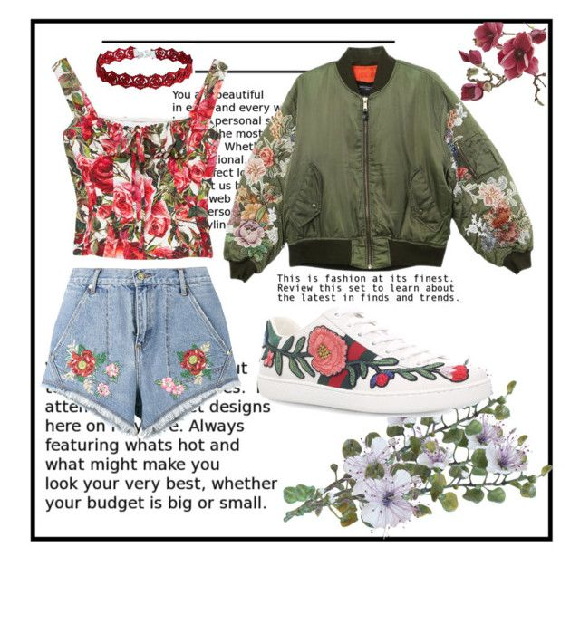 """""""Denim Short"""" by devarahma on Polyvore featuring Gucci, House of Holland, Dolce&Gabbana, Crate and Barrel, floral, DenimShort, bomber and FloralPattern"""