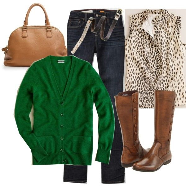 Dark green. Love the boots too: Green Sweaters, Boots Outfits, Style, Green Cardigans, Cute Outfits, Animal Prints, Casual Wear, Brown Boots, Bold Colors