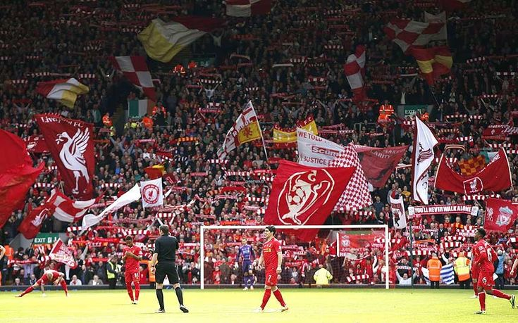 Premier League final day support for Liverpool from the Kop.