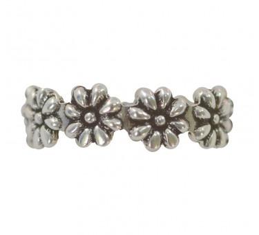 Anel meio dedo, em prata bali trabalhada, com formato de flores