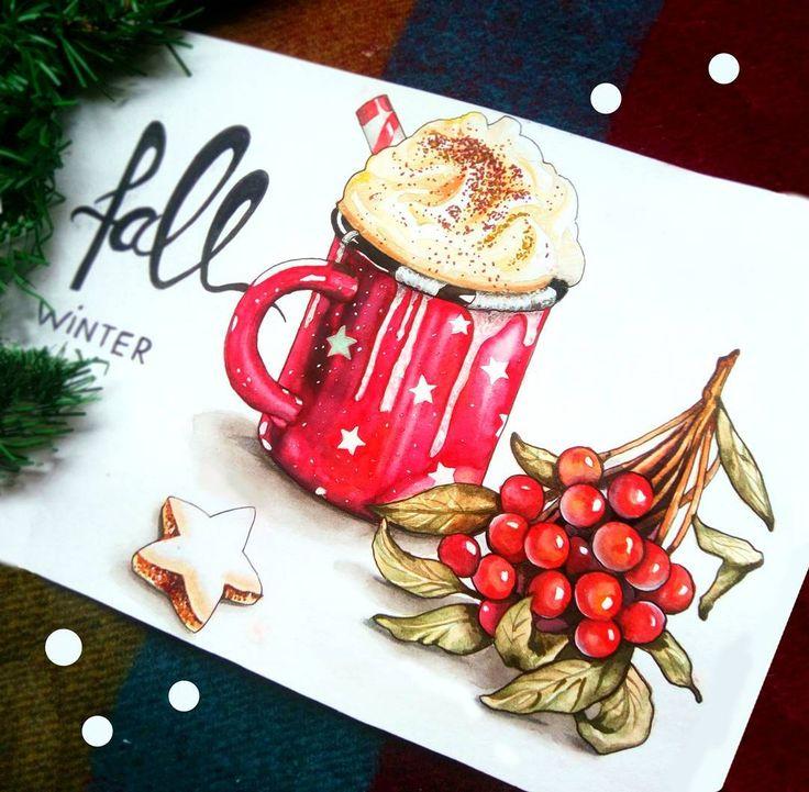 Рождественская открытка маркером