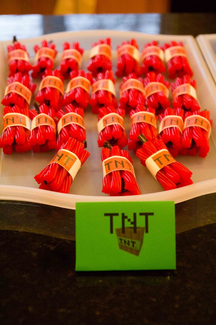 Minecraft party food ideas - TNT made from strawberry and chocolate licorice