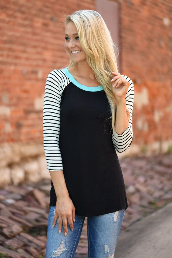 Collar Full of Color 3/4 Sleeve Top ~ Mint – The Pulse Boutique