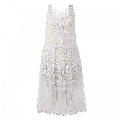 DRESS IN WHITE COLOR  LARGE (100% POLYESTER)
